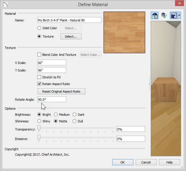 Define Material dialog showing a new Name and 90 degrees entered for Rotate Angle