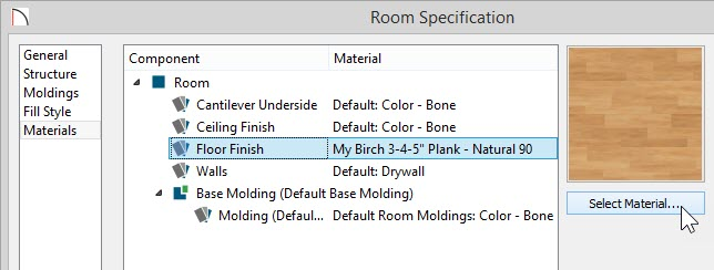 Room Specification dialog with new material selected for the Floor Finish component