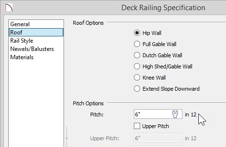 """Deck Railing Specification dialog with 6"""" in 12"""" Pitch specified on the Roof panel"""
