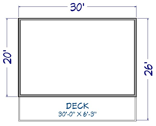 """Floor plan view of 30' by 20' house and 30' by 6' 3"""" Deck"""