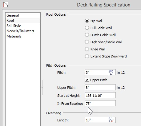 """Deck Railing Specification dialog with 3"""" in 12 specified for the Pitch, Upper Pitch selected and 8"""" in 12 specified for the Upper Pitch with 75"""" entered for the In From Baseline value"""