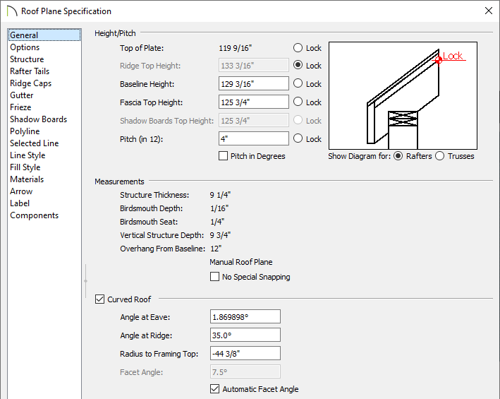 General panel of the Roof Plane Specification dialog