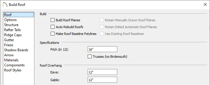 Roof panel of the Build Roof dialog is where the pitch and overhang(s) can be set.