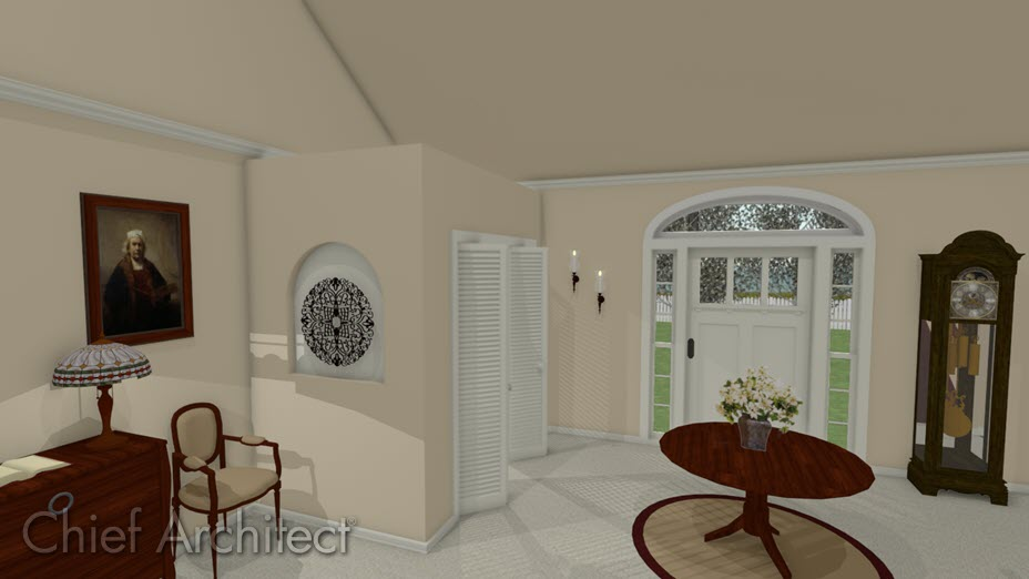 Living room with an entryway closet