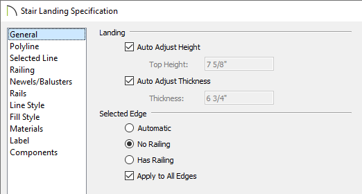 Stair Landing Specification dialog
