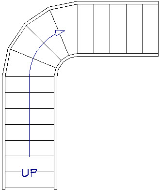 A third stair section drawn from the curved stair section