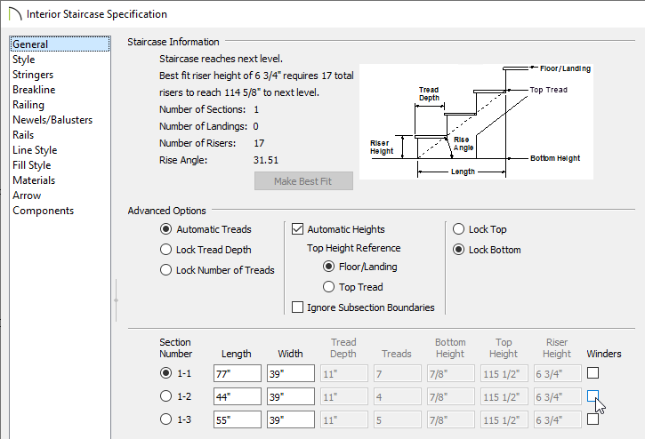 Check the Winders box on the General panel of the Staircase Specification dialog