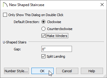 New Shaped Staircase dialog
