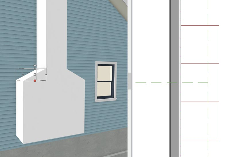 Tiled view with exterior camera view of closed boxes and wedges that make chimney and floor plan view of geometric shapes along outside of exterior wall