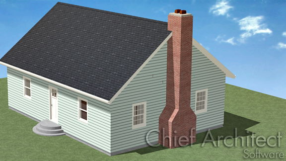 Camera view of house with chimney