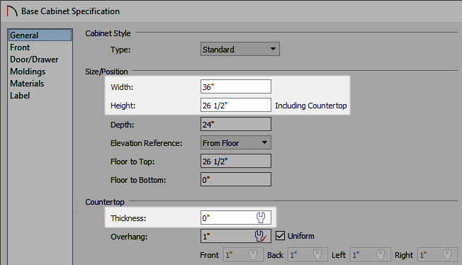 Adjust the Height, Width, Countertop Thickness, and other properties in the Base Cabinet Specification dialog