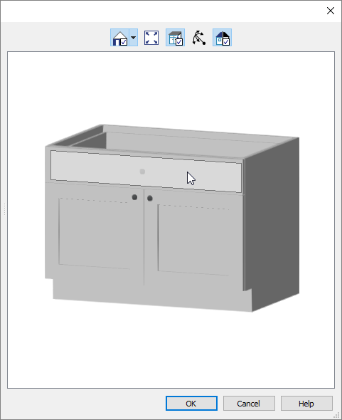 Selecting the drawer in the 3D preview within the Base Cabinet Specification dialog