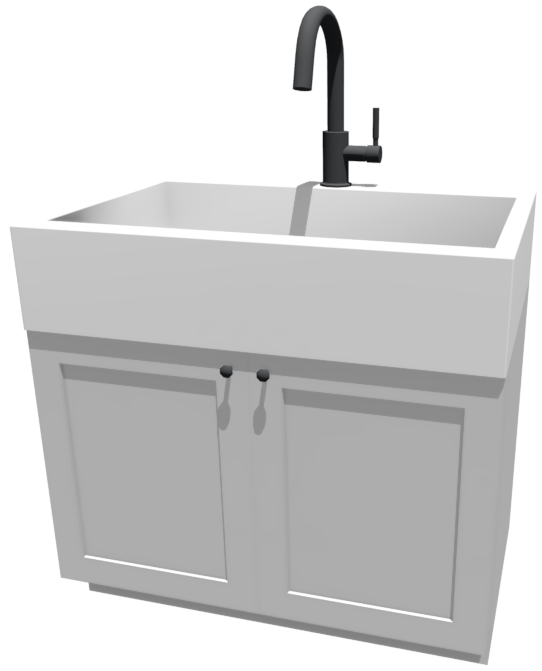3D camera view of an apron sink on top of a base cabinet