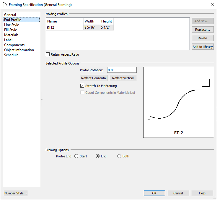 End Profile panel of the Framing Specification dialog