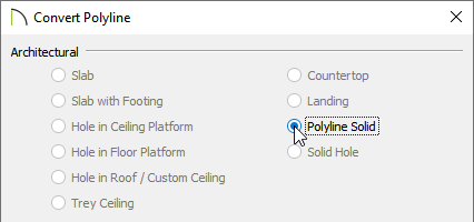 Convert Polyline dialog with the Polyline Solid option selected