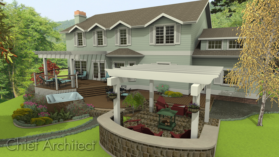 Exterior multi-level deck with pergola that has decorate end cuts on the beams