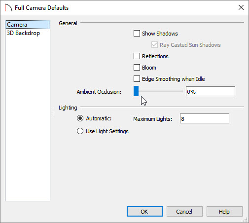 Full Camera Defaults dialog with general render settings disabled.