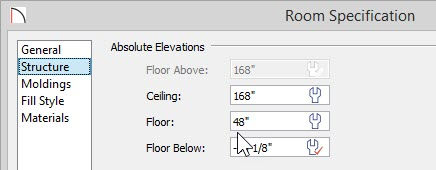 "Room Specification dialog for Kitchen showing 48"" entered for Floor value"