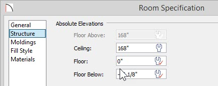 "Room Specification dialog for Living Room showing 0"" entered for Floor value"
