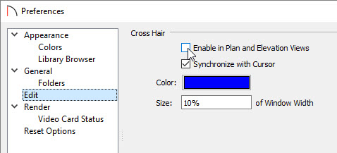 Disabling cross hairs within the Preferences dialog