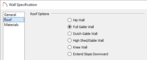 Roof panel of the Wall Specification dialog in which the Full Gable Wall option is selected