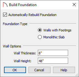 Build Foundation dialog with a wall height of 48 inches