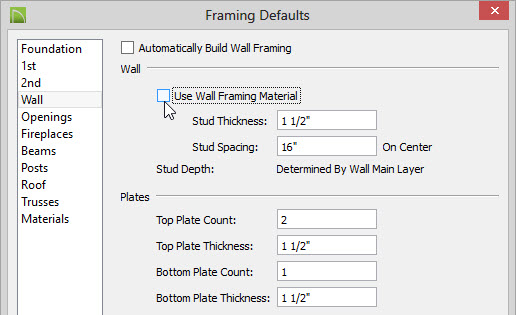 specifying the on center spacing for wall framing