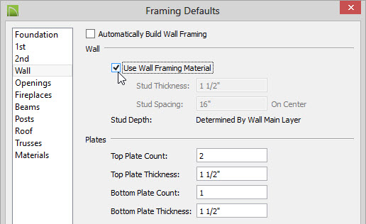 On The Wall Panel Of The Framing Defaults Dialog: