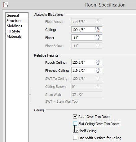 Room Specification dialog showing a Floor value of -11 and Flat Ceiling Over This Room deselected