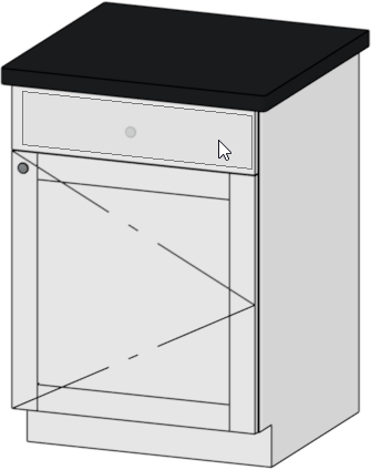 Drawer selected in the preview panel of the cabinet specification