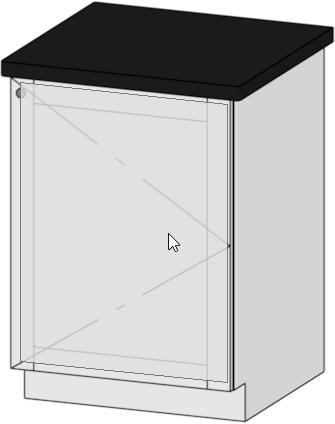 Cabinet door selected in the preview