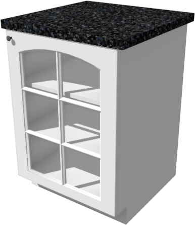 Full Camera view of a base cabinet with shelves