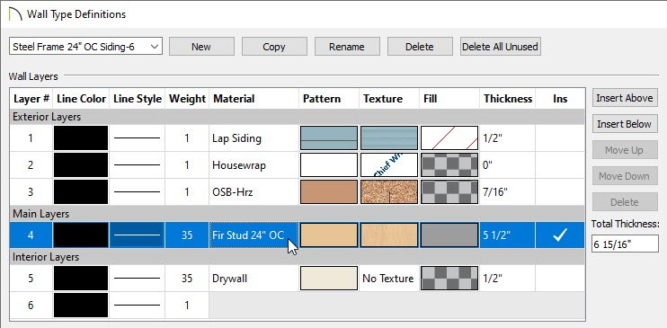 Selecting the main framing layer on the Wall Types Definitions dialog