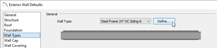 Change the default exterior wall to your steel frame wall type