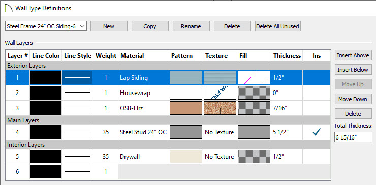 Select the Steel Frame Wall Type