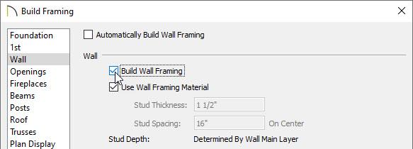 Build wall framing dialog