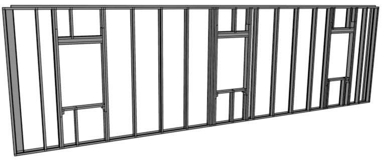 Steel wall framing in a framing overview