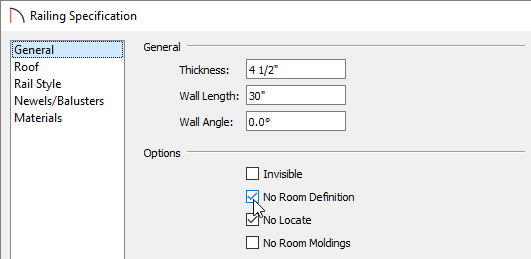 Checking the No Room Definition box, located on the General panel of the Railing Specification dialog