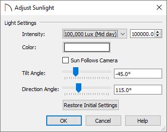 Adjust Sunlight dialog