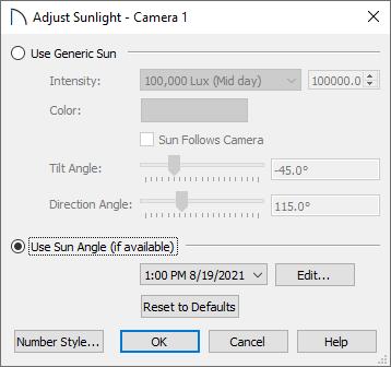 Adjust Sunlight dialog in Home Designer Pro