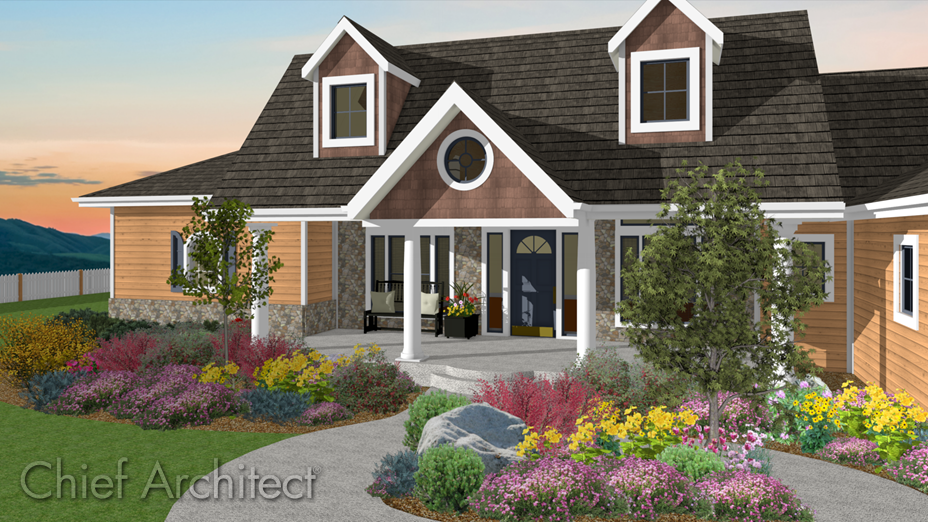 Rustic craftsman home in a dusk setting