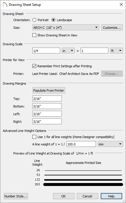 Drawing Sheet Setup dialog where the Advanced Line Weight Options are located