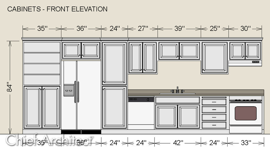 Wall Elevation view of kitchen cabinets, appliances and fixtures with dimensions across the top, side and bottom