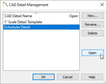 Selecting the Schedules Detail option and choosing Open