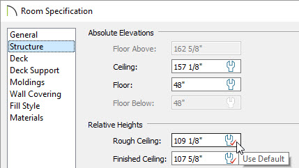 Rough ceiling default setting in room specification