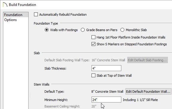 Build foundation dialog minimum height