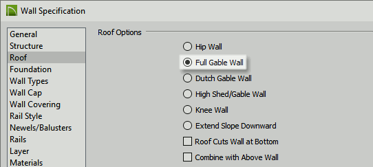 Wall Specification dialog opened to the Roof panel
