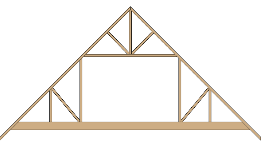 Elevation view of an attic truss.