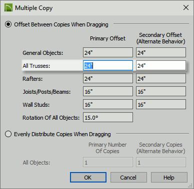 Multiple Copy settings dialog