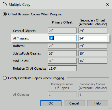 Multiple Copy settings dialog showing the offset distance for trusses.
